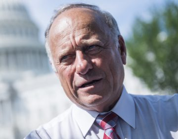Rep. Steve King, R-Iowa, attends a rally with Angel Families on the East Front of the Capitol, to highlight crimes committed by illegal immigrants in the U.S., on September 7, 2018. (Tom Williams/CQ-Roll Call, Inc.)