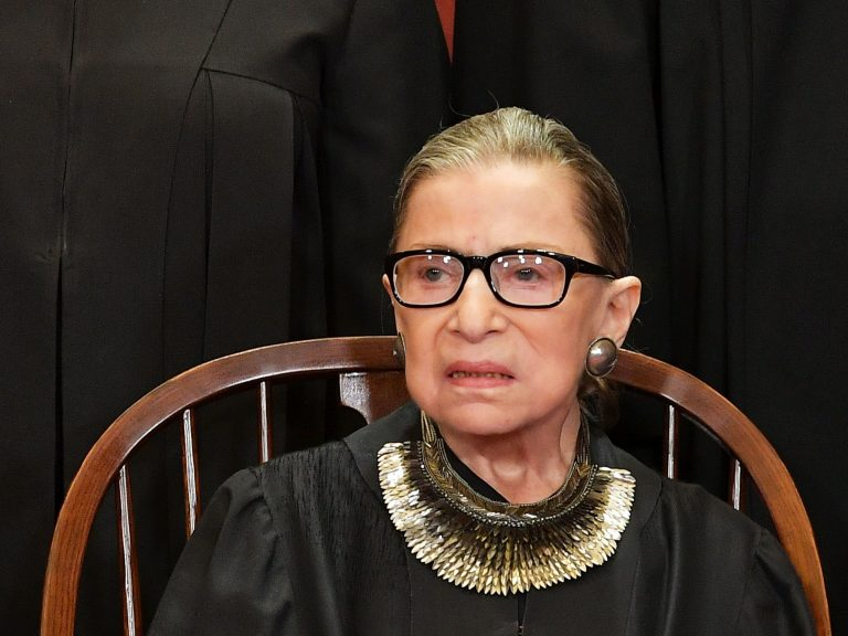 Associate Justice Ruth Bader Ginsburg poses for the official photo at the Supreme Court in Washington, DC on November 30, 2018.