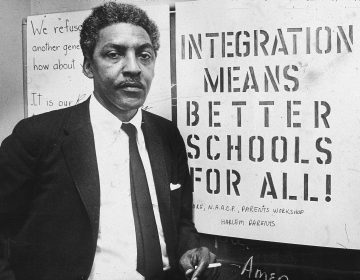 American civil rights activist Bayard Rustin, pictured in 1964, as spokesman for the Citywide Committee for Integration, at the organization's headquarters, Silcam Presbyterian Church in New York City. (Patrick A. Burns/New York Times Co./Getty Images)