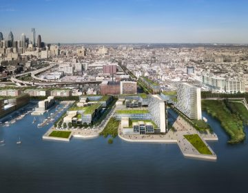 A rendering of the Central Delaware River waterfront produced as part of the riverfront planning process. (KieranTimberlake / Brooklyn Digital Foundry)
