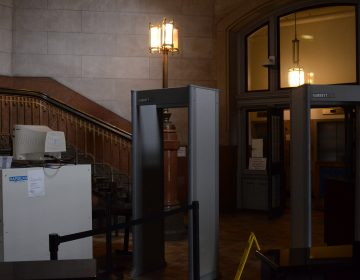 Metal detectors to welcome visitors to Philadelphia City Hall for 2019. (Tom MacDonald/ WHYY)