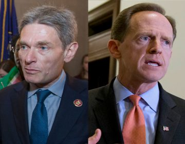 Left: Rep. Tom Malinowski, D-N.J., (AP Photo/Alex Brandon) Right: Sen. Pat Toomey R-Pa. (Manuel Balce Ceneta/AP Photo, File)