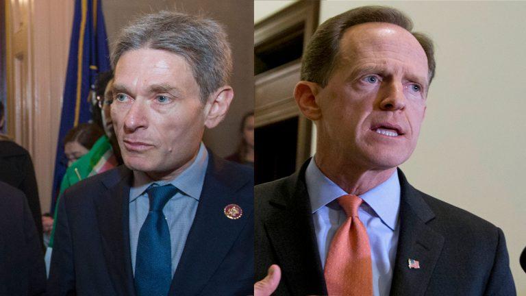 Left: Rep. Tom Malinowski, D-N.J., (AP Photo/Alex Brandon) Right: Sen. Pat Toomey R-Pa. (Manuel Balce Ceneta/AP Photo, File)