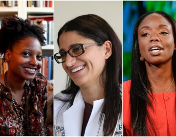 from left to right: Tracy K. Smith (AP Photo/Jason DeCrow), Mona Hanna-Attisha (AP Photo/Carlos Osorio), Nadine Burke Harris (courtesy of the author)
