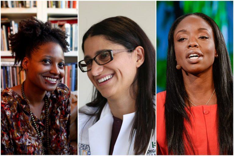 from left to right: Tracy K. Smith (AP Photo/Jason DeCrow), Mona Hanna-Attisha (AP Photo/Carlos Osorio), Nadine Burke Harris (courtesy of the author)