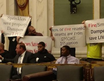 Sheet Metal Workers protest in City Council on Dec. 4, 2018. (Jake Blumgart/PlanPhilly)