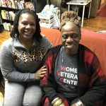 Minetta Metz (right) and Danielle Spencer (left) at the Veterans Multi-Service Center. (Jennifer Lynn/WHYY)