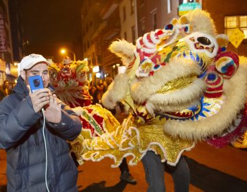 Josh Millman takes a selfie with one of the cavorting lions dancing on Cherry Street in Chinatown. Millman and hundreds of others came to Chinatown late Monday evening to welcome the Year of the Pig.