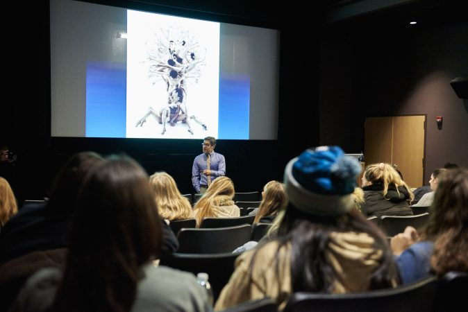 Scott Fried speaks at Temple University on November 27, 2018. His educational program focuses on consent, self-care, sexual assault prevention, and healthy relationships. (Natalie Piserchio for WHYY)