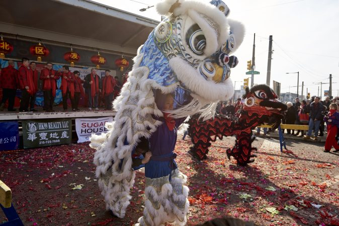 The lion dance is a chinese cultural tradition, typically performed at Chinese New Year festivities. It is thought to bring good luck and fortune. (Natalie Piserchio for WHYY)