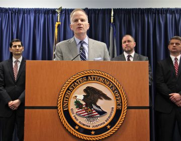 U.S. Attorney William McSwain announces a lawsuit to prevent a supervised injection site from opening in Philadelphia. (Emma Lee/WHYY)