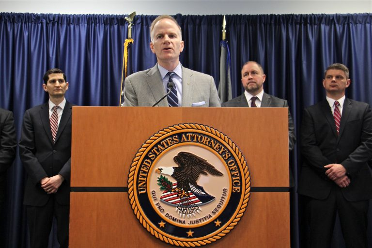 U.S. Attorney William McSwain speaks at a press conference.