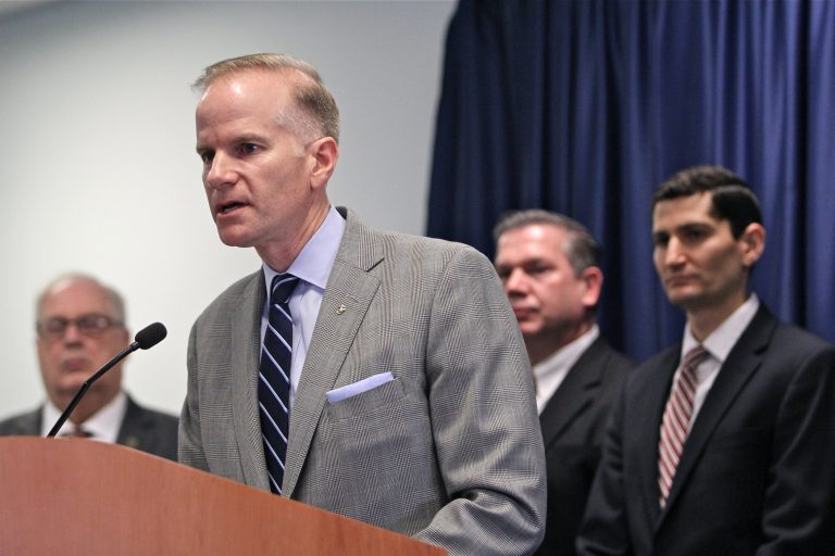 U.S. Attorney William McSwain announces a lawsuit to prevent a supervised injection site from opening in Philadelphia.