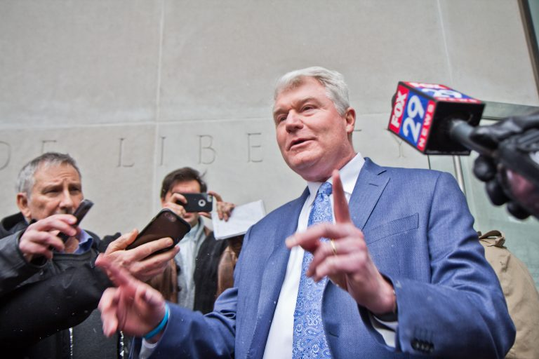 Union Leader John Dougherty exits federal court after he pled not guilty at his arraignment Friday afternoon. (Kimberly Paynter/WHYY)