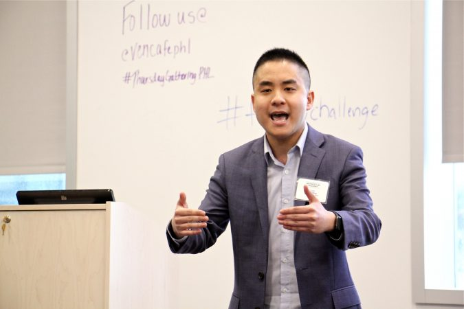 Oscar Wang, representing Hospitality Together, pitches a plan for a college alternative that places students in food industry jobs and enrolls them in digital courses. (Emma Lee/WHYY)
