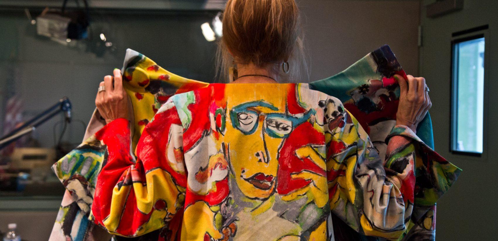 Designer Nancy Volpe Beringer at WHYY studios Tuesday. (Kimberly Paynter/WHYY)