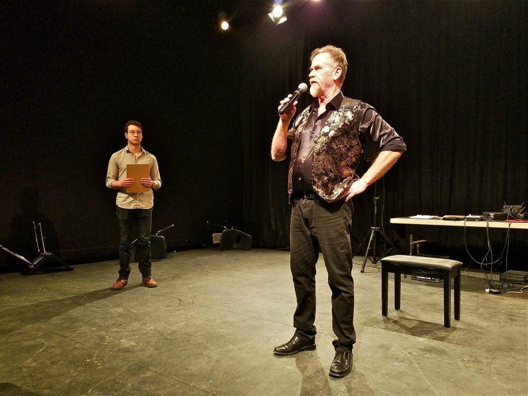 Pearce Bunting runs through a rehearsal of
