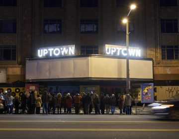 The Uptown Theater, located at 2227 N. Broad Street, after the Marquee lighting on February 16, 2019. (Natalie Piserchio for WHYY)