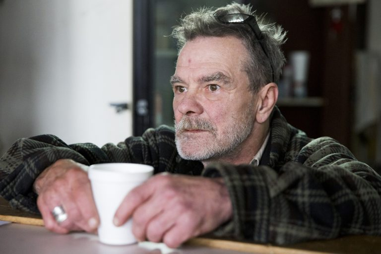 Rob mans the coffee counter at The Last Stop in Kensington on February 17, 2019. Patrons are able to pay whatever they wish for a cup of fresh coffee, with donations going entirely to the upkeep of the DIY recovery center. According to Rob, coffee sales give the Stop just enough to pay the utility bills each month.