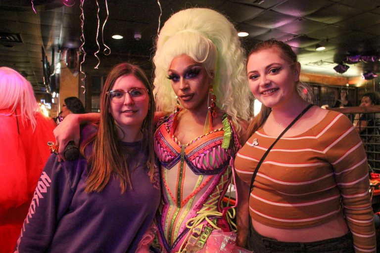 Ariel Versace fans Andie Boberick (left) and Nicole Smyth (right) celebrate their idol's debut on the 11th season of RuPaul's Drag Race during a watch party at Vera Bar & Grill in Cherry Hill.