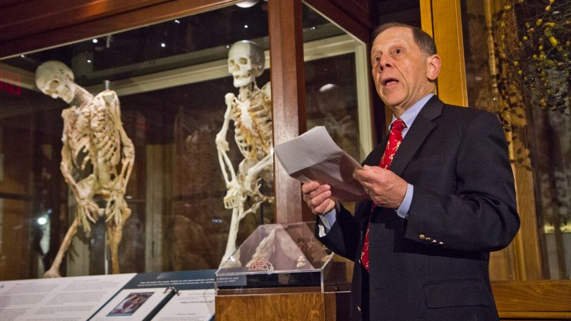Carol Orzel's doctor, Frederick Kaplan, chief of Molecular Orthopaedic Medicine at the University of Pennsylvania, memorialized Carol fondly. Her skeleton is now on display at Philadelphia's Mütter Museum according to her wishes. (Kimberly Paynter/WHYY)