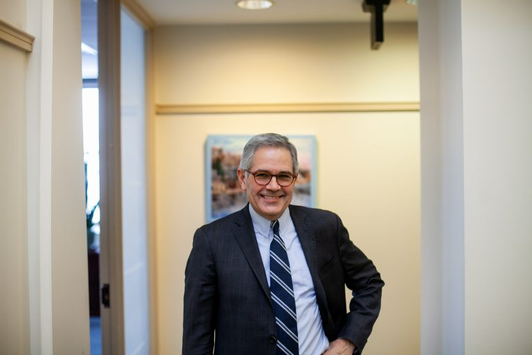 Philadelphia District Attorney Larry Krasner is pictured in the District Attorney's Office in Center City Friday, February 1, 2019. (Brad Larrison for WHYY)