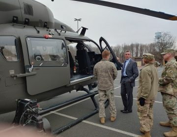The Delaware National Guard hosted Governor John Carney for a tour of its counterdrug facilities. (Zöe Read/WHYY)