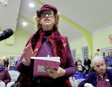Eileen O'Brien of Pennsauken, who has been riding the Atlantic City rail line for 25 years, expresses frustration with delays in reopening the line during a public hearing in Cherry Hill.