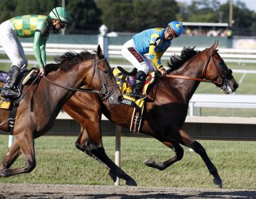 In this Sunday, Aug. 2, 2015 file photograph, jockey Victor Espinoza, (right), on Triple Crown winner American Pharoah(4), looks back at jockey Kent Desormeaux on Keen Ice (6) after American Pharoah won the Haskell Invitational horse race at Monmouth Park in Oceanport, N.J. (Mel Evans/AP Photo, File)