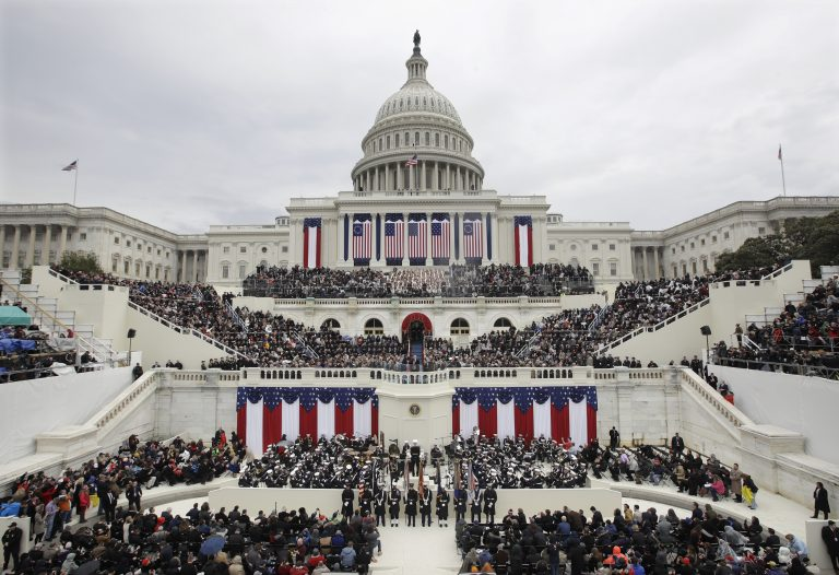 In this Jan. 20, 2017, file photo, President Donald Trump gives his inaugural address after being sworn in as the 45th president of the United States during the 58th Presidential Inauguration at the U.S. Capitol in Washington. Big money from billionaires, corporations and a roster of NFL owners poured into Donald Trump's inaugural committee in record-shattering amounts, to pull off an event that turned out considerably lower-key than previous inaugural celebrations. (Patrick Semansky/AP Photo, File)