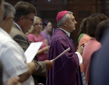 Bishop Ronald Gainer, of the Harrisburg Diocese, arrives to celebrate mass at the Cathedral Church of Saint Patrick in Harrisburg, Pa., Friday, Aug. 17, 2018.  (AP Photo/Matt Rourke)