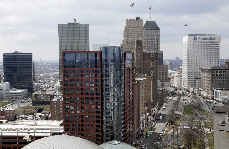FILE- This April 10, 2018, file photo shows a part of the skyline in Newark, N.J. (AP Photo/Seth Wenig, File)