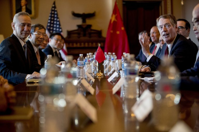 U.S. Trade Representative Robert Lighthizer, (right), accompanied by Trump Administration officials, meets with Chinese Vice Premier Liu He, (left), and other Chinese officials as they begin US-China Trade Talks in the Diplomatic Room of the Eisenhower Executive Office Building on the White House Complex, Wednesday, Jan. 30, 2019, in Washington. (Andrew Harnik/AP Photo)