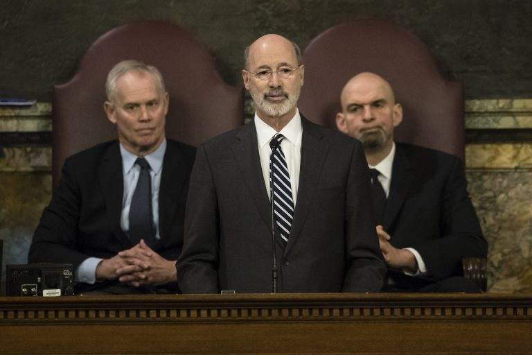 Democratic Gov. Tom Wolf delivers his budget address for the 2019-20 fiscal year to a joint session of the Pennsylvania House and Senate in Harrisburg, Pa., Tuesday, Feb. 5, 2019. House Speaker Mike Turzai, R-Allegheny, and Lt. Gov. John Fetterman is at right. (Matt Rourke/AP Photo)