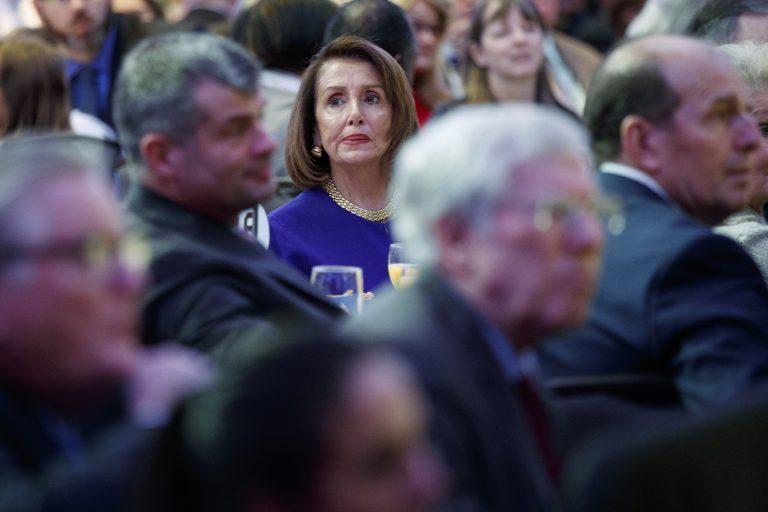 Speaker of the House Nancy Pelosi of Calif. listens during the National Prayer Breakfast attended by President Donald Trump, Thursday, Feb. 7, 2019, in Washington. (Evan Vucci/AP Photo)