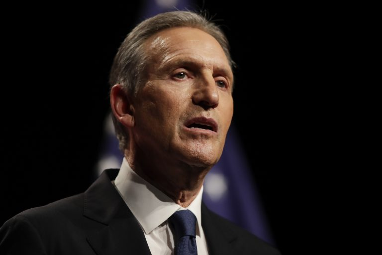 Former Starbucks CEO Howard Schultz speaks at Purdue University in West Lafayette, Ind., Thursday, Feb. 7, 2019. (AP Photo/Michael Conroy)
