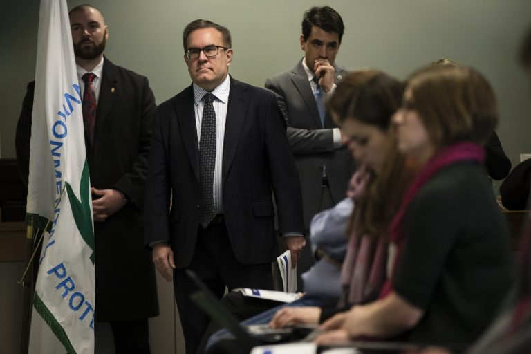 Acting Environmental Protection Agency Administrator Andrew Wheeler walks to a podium a news conference in Philadelphia, Thursday, Feb. 14, 2019. The EPA is expected to announced a plan for dealing with a class of long-lasting chemical contaminants amid complaints from members of Congress and environmentalists that it's not moved aggressively enough to regulate them. (Matt Rourke/AP Photo)