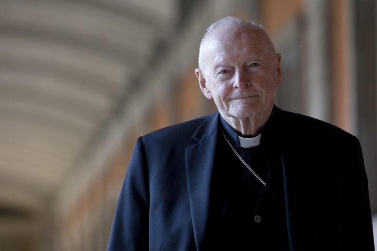 In this Feb. 13, 2013 file photo, Cardinal Theodore Edgar McCarrick poses during an interview with the Associated Press, in Rome. On Saturday, Feb. 16, 2019 the Vatican announced Pope Francis defrocked former U.S. Cardinal Theodore McCarrick after Vatican officials found him guilty of soliciting for sex while hearing Confession. (Andrew Medichini/AP Photo, file)