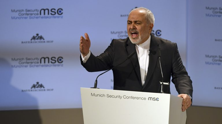 Iranian Foreign Minister Mohammad Javad Zarif speaks during the Munich Security Conference in Munich, Germany, Sunday, Feb. 17, 2019. (Kerstin Joensson/AP Photo)