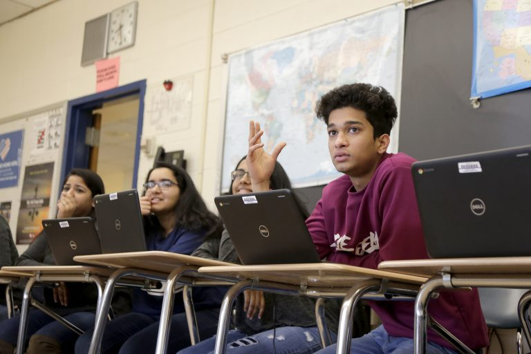 Students participate in an Advanced Placement government class at Hightstown High School in Hightstown, N.J., Tuesday, Feb. 19, 2019. (Seth Wenig/AP Photo)