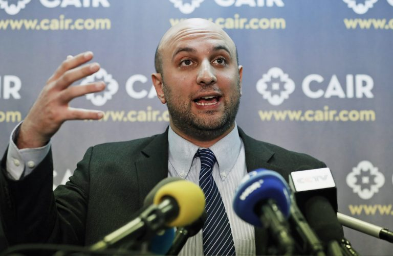 In this Jan. 30, 2017, file photo, attorney Gadeir Abbas speaks during a news conference at the Council on American-Islamic Relations (CAIR) in Washington. The federal government has acknowledged that it shares its terrorist watchlist with more than 1,400 private entities, including hospitals and universities, prompting concerns from civil libertarians that those mistakenly placed on the list could face a wide variety of hassles in their daily lives. (Alex Brandon/AP Photo, File)