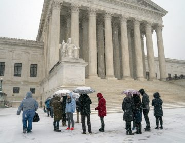 Visitors wait to enter the Supreme Court as a winter snow storm hits the nation's capital making roads perilous and closing most Federal offices and all major public school districts, on Capitol Hill in Washington, Wednesday, Feb. 20, 2019. The Supreme Court is ruling unanimously that the Constitution's ban on excessive fines applies to the states. (J. Scott Applewhite/AP Photo)