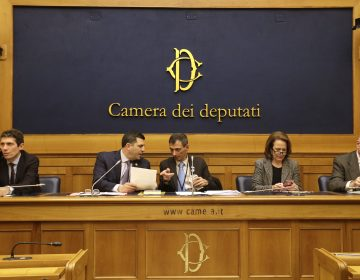 (From left) Italian radical party lawmaker Riccardo Maggi, Mark Rozzi, Democratic member of the Pennsylvania House of Representatives, Italian survivor of sex abuse Francesco Zanardi, Anne Barrett Doyle, of Bishop Accountability, and Tim Lennon, of SNAP, attend a press conference at the Italian Lower Chamber press hall in Rome, Thursday, Feb. 21, 2019. Pope Francis opened a landmark sex abuse prevention summit Thursday by warning senior Catholic figures that the faithful are demanding concrete action against predator priests and not just words of condemnation. (Gregorio Borgia/AP Photo)