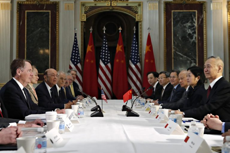 U.S. Trade Representative Robert Lighthizer, (left), and Chinese Vice Premier Liu He, (right), attend a meeting of senior U.S. and Chinese officials to resume trade negotiations, Thursday, Feb. 21, 2019, in the Indian Treaty Room of the Eisenhower Executive Office Building at the White House complex, in Washington. (Jacquelyn Martin/AP Photo)