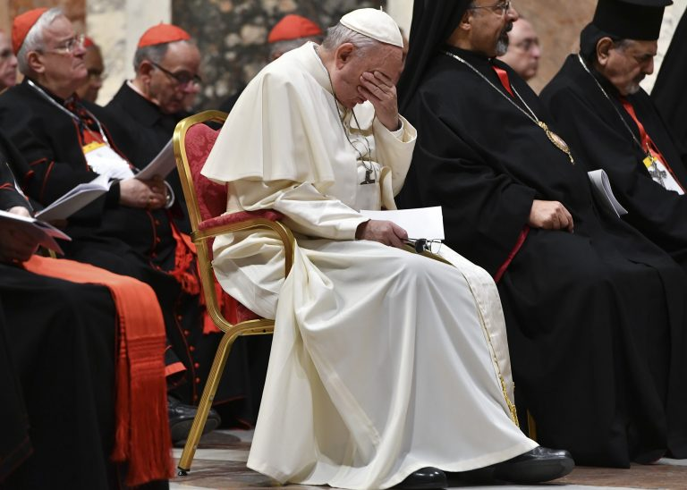 Pope Francis attends a penitential liturgy at the Vatican, Saturday, Feb. 23, 2019. The pontiff is hosting a four-day summit on preventing clergy sexual abuse, a high-stakes meeting designed to impress on Catholic bishops around the world that the problem is global and that there are consequences if they cover it up. (Vincenzo Pinto/Pool Photo Via AP)