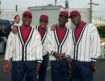 Boyz II Men members, from left, Wanya Morris, Nathan Vanderpool, Shawn Stockman and Mike McCary pose at the American Music Awards in Los Angeles, Calif., on Jan. 25, 1993.  (AP Photo/Julie Markes)