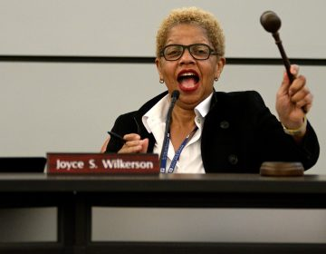 Board of Education chair Joyce Wilkerson, calls to order at the start of a meeting at the School District of Philadelphia's Headquarters on Feb. 28, 2019. (Bastiaan Slabbers for WHYY)