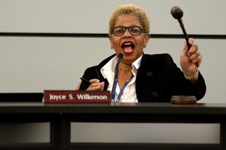Board of Education chair Joyce Wilkerson, calls to order at the start of a meeting at the School District of Philadelphia's Headquarters on February 28, 2019. (Bastiaan Slabbers for WHYY)