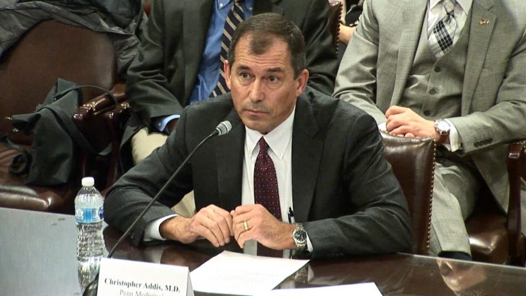 Dr. Christopher Addis speaks to Republican lawmakers at a House Majority Policy Committee hearing Thursday, Feb. 14, 2019. (Screengrab)