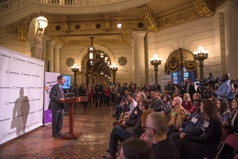David Thornburgh, President and CEO of the Committee of Seventy, address the crowd at aDraw the Lines  PA event in Harrisburg on February 6, 2019. (Photo courtesy of Draw the Lines PA)